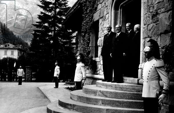 Charles de Gaulle, Giuseppe Saragat, Maurice Couve de Murville and Amintore Fanfani at inauguration of the Mont Blanc Tunnel, Italy