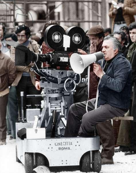 Federico Fellini on the set, Rome, Italy