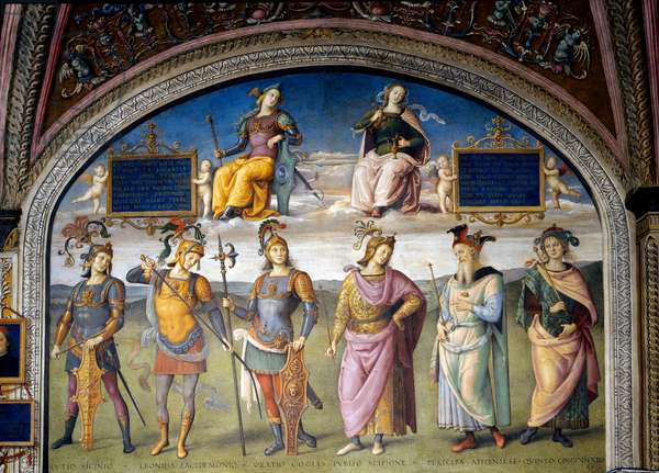 Fortitude and Temperance above six ancient heroes, 1496 (fresco)
