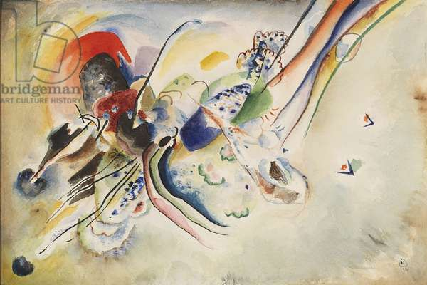 Composition - Study for 'Bild mit zwei roten Flecken', by Wassily Kandinsky, 1916, 20th Century, watercolor and pencil on paper, 24 ? 36 cm