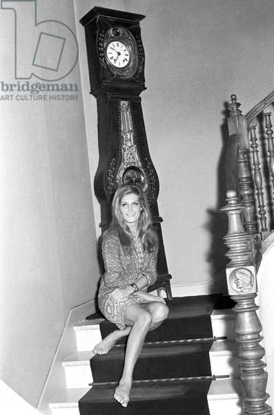 Dalida posing in her house, France, 1968 (b/w photo)