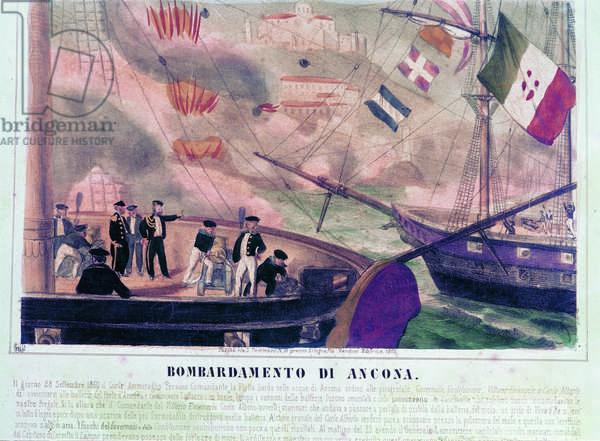 Bombing of Ancona (Bombardamento di Ancona), 19th Century (engraving)