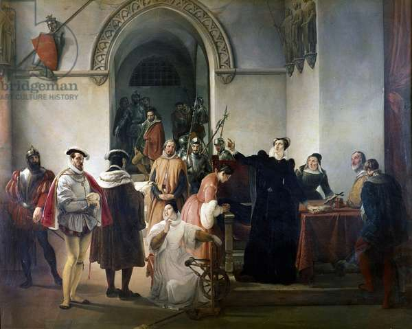 Marie Stuart receiving the death sentence in 1587 (oil on canvas)