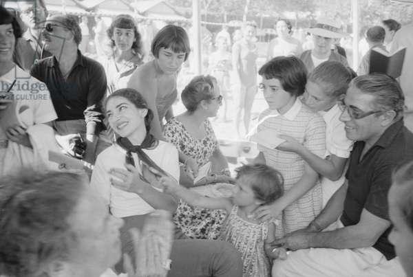 Aristotle Onassis and Maria Callas smiling, Italy, 1957 (b/w photo)