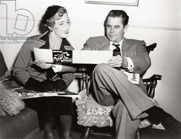 Artists Denise Darcel and Glenn Ford, 1952 (b/w photo)