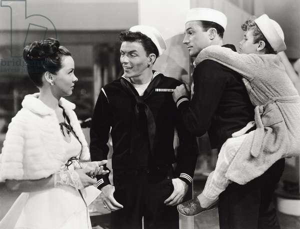 Frank Sinatra, Gene Kelly, Dean Stockwell and Kathryn Grayson, 1945 (b/w photo)