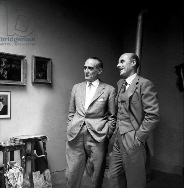 Gregorio Calvi di Bergolo smiling with Achille Mario Dogliotti, Italy