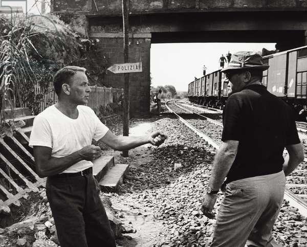 Frank Sinatra on a film set (b/w photo)