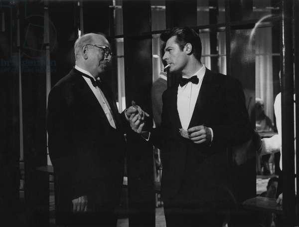 Marcello Mastroianni in La dolce vita, 1959 (b/w photo)