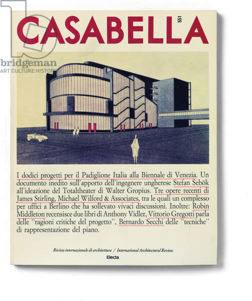 Cover of Casabella, N. 551, November 1988, 20th Century, graphic, 31 x 28 cm