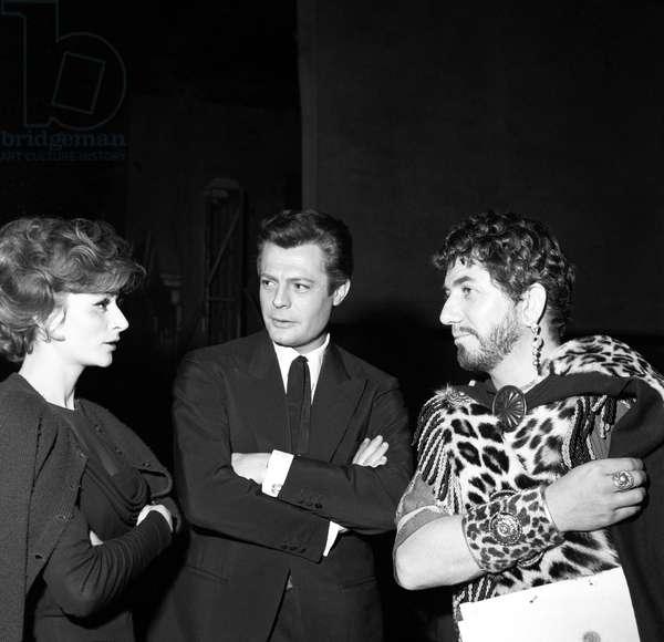 Marcello Mastroianni, Anouk Aimée and Daniel Gélin on the set of the film Carthage in Flames, Italy, 1958 (b/w photo)