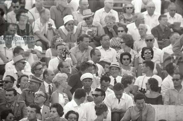the public crowd the stands of the Olympic Stadium for Rome Games, 1960 (b/w photo)