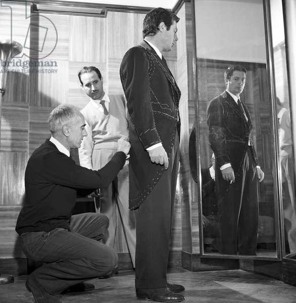 Marcello Mastroianni on the set of a film, Italy, 1963 (b/w photo)