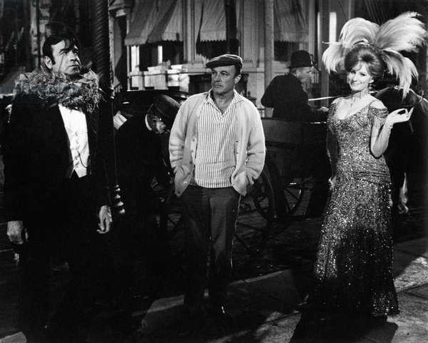 Walter Matthau, Gene Kelly and Barbra Streisand on the set of the movie Hello, Dolly, 1968 (b/w photo)