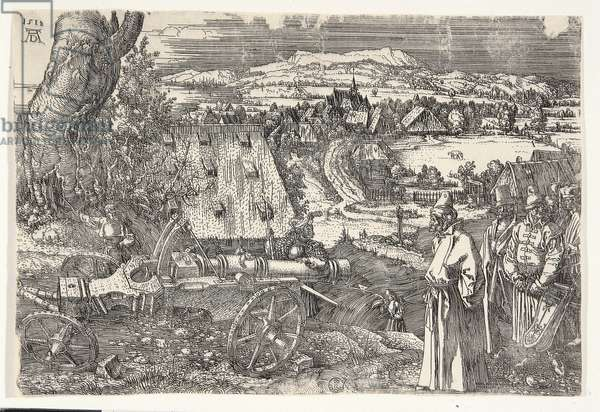 Landscape with Cannon, by Albrecht Durer, 1518, 16th Century (etching on iron)