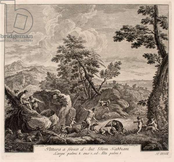 Wild boar hunting, 1694 (engraving)