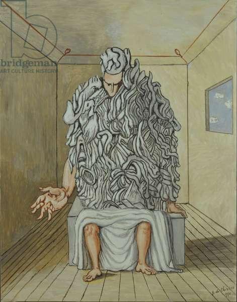 The Meditator (Il meditatore), by Giorgio De Chirico, 1971, 20th Century, oil on canvas, 90 x 70 cm