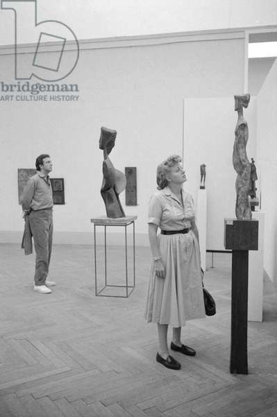 Shelley Winters and Anthony Franciosa visiting the Art Biennale, Italy, 1958 (b/w photo)