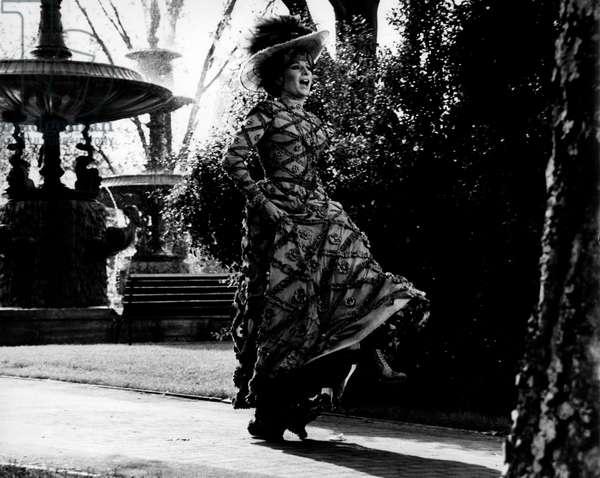 Barbra Streisand dancing dressed in stage costume, 1968 (b/w photo)