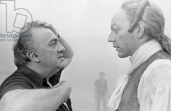 Federico Fellini and Sutherland on the set of Fellini's Casanova, 1976 (b/w photo)