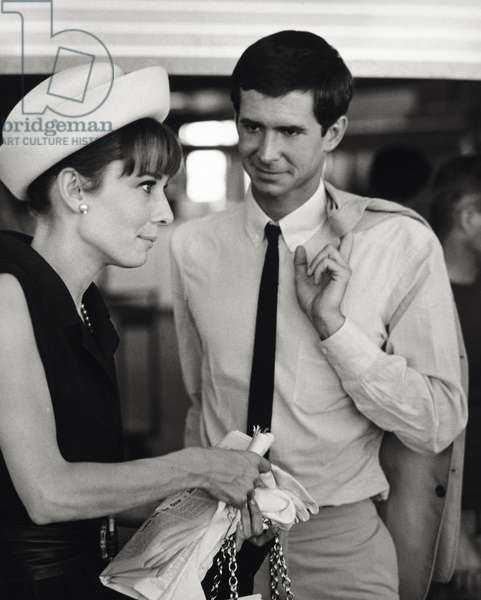 Anthony Perkins with Audrey Hepburn (b/w photo)