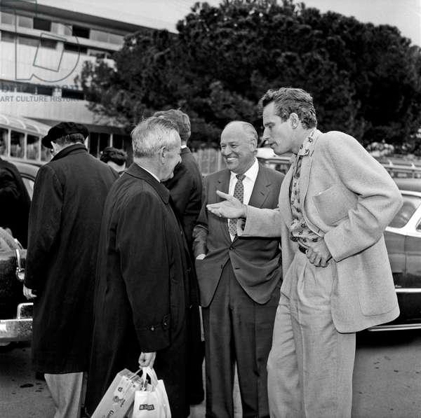 Charlton Heston and William Wyler at Ciampino airport, Ciampino, Italy, 1958 (b/w photo)