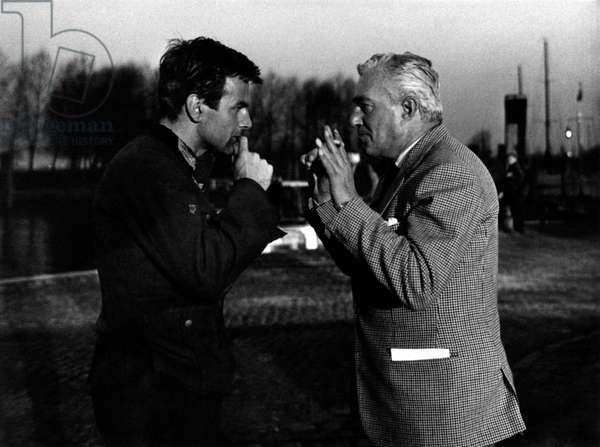 Maximilian Schell with Vittorio De Sica, 1962 (b/w photo)