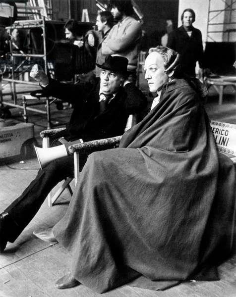 Federico Fellini and Donald Sutherland on the set of Fellini's Casanova, 1975 (b/w photo)