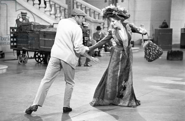 Gene Kelly and Barbra Streisand on the set of the film Hello, Dolly! (b/w photo)