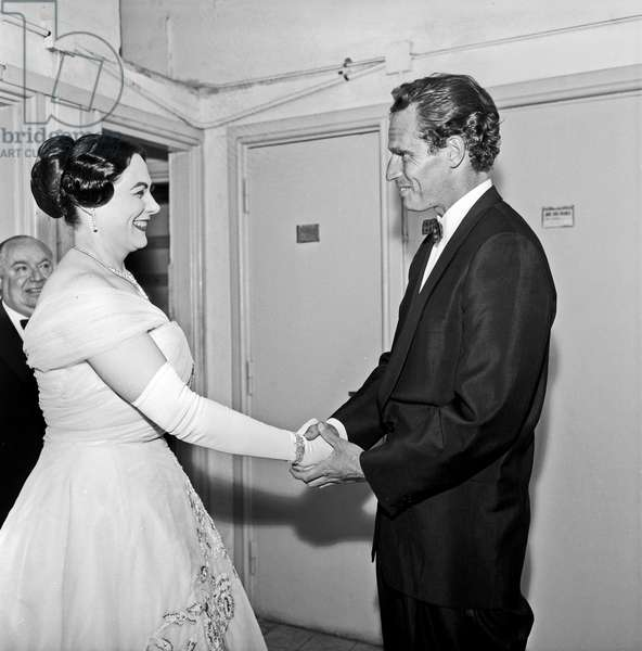 Charlton Heston and Renata Tebaldi in the dressing room of teatro Sistina, Rome, Italy, 1958 (b/w photo)