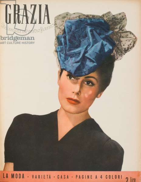 Cover of the women's magazine Grazia, A model wearing a pleasant taffeta hat covered with a light veil tied on the head, May 1942 (b/w photo)
