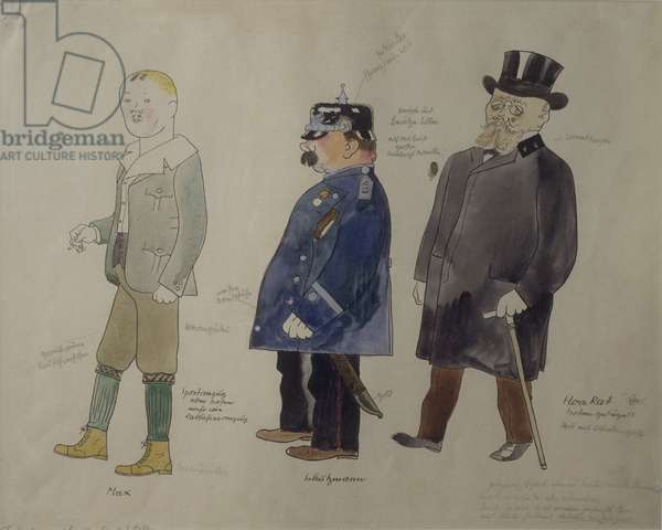 Costumes for 'Kehler the Chancellor', by George Grosz, before 1922, 20th Century, watercolour on paper