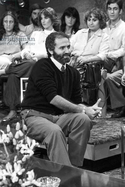 Gianni Versace interwieved at Domenica in, Italy, 1981 (b/w photo)