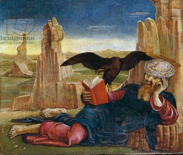 St. John of Patmos (San Giovanni in Patmos), by Cosmè Tura, 1470 - 1475, 15th Century, oil on board, 27 x 32 cm