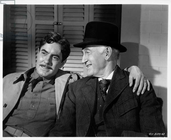 Tyrone Power and Donald Crisp in 'The long gray line', 1955 (b/w photo)