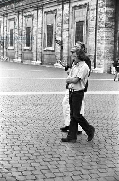 Gregory Peck and his son, Italy, 1973 (b/w photo)