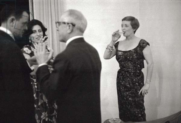 Anna Magnani and Bette Davis at a party (b/w photo)