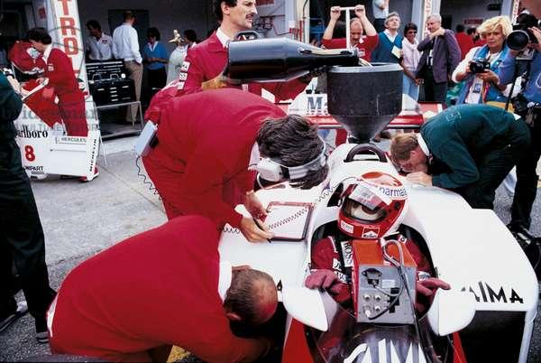 Niki Lauda into his McLaren