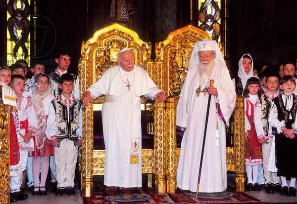Pope John Paul II and Teoctist Arapasu, Bucarest, Romania