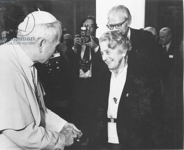 Rita Levi-Montalcini meeting Pope John Paul II, Italy, 1985 (b/w photo)