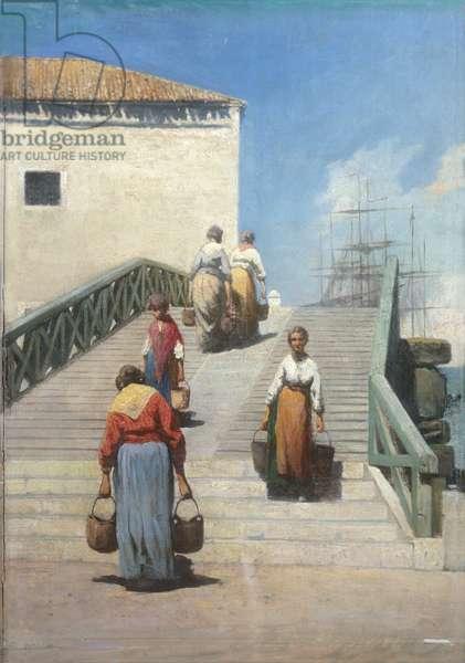 Women on a Bridge in Venice (Donne sul ponte a Venezia), by Vincenzo Cabianca, 1869, 19th Century, 46 x 41 cm