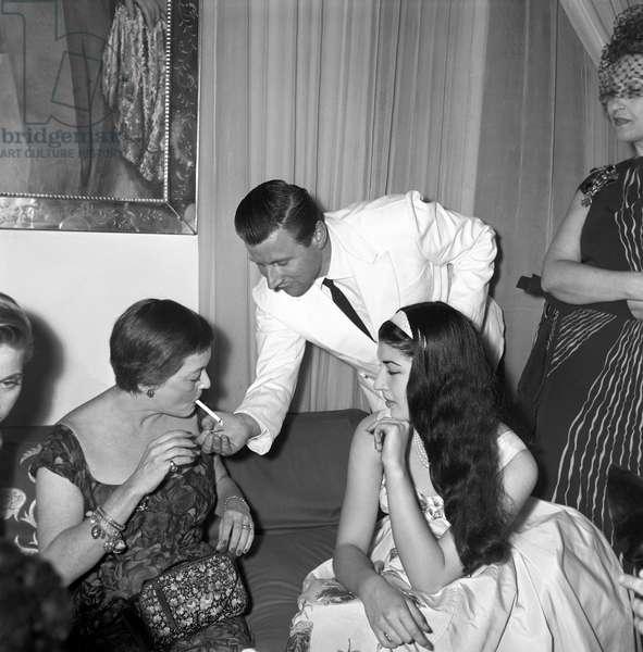 Patrizia de Blanck and Bette Davis, Italy, 1958 (b/w photo)
