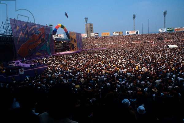 People at a Rolling Stones concert at the Turin stadium