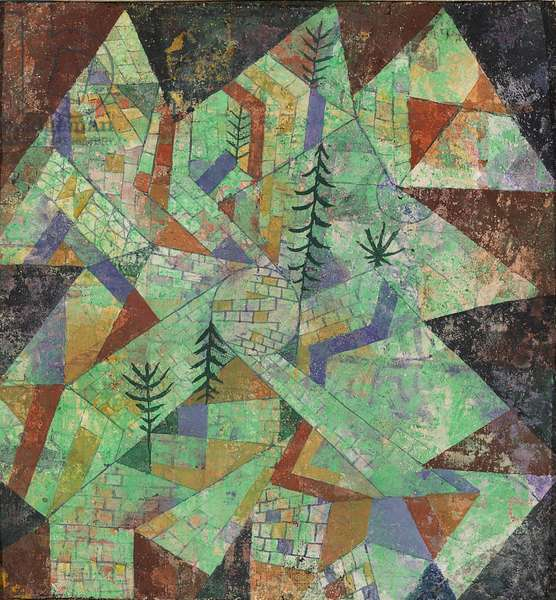 Forest - Construction (Wald Bau), by Paul Klee, 1919, 20th Century, mixed media on canvas with plaster reported do cardboard, 27.5 ? 26 cm
