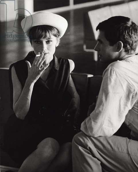 Audrey Hepburn and Anthony Perkins (b/w photo)