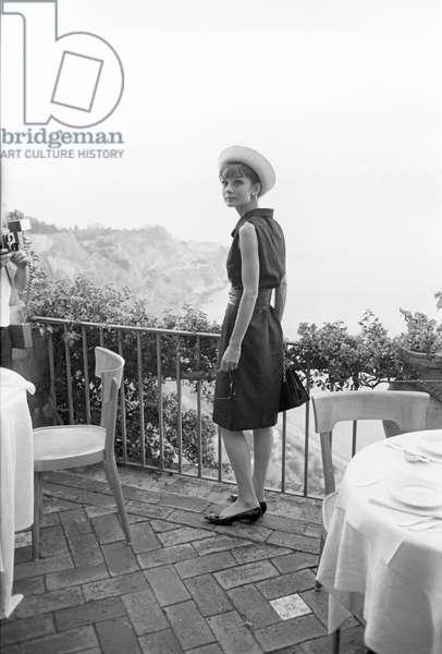 Audrey Hepburn on a terrace (b/w photo)