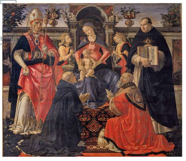 Madonna and Child Enthroned between Angels and Saints, 1486 (tempera on board)