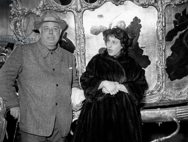 Jean Renoir and Anna Magnani on the set of The golden coach