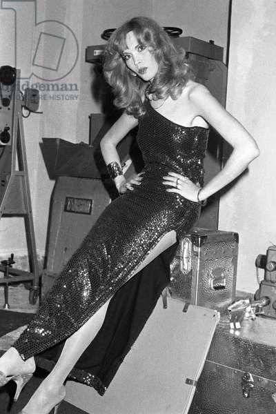Amanda Lear after a show, Italy, 1978 (b/w photo)