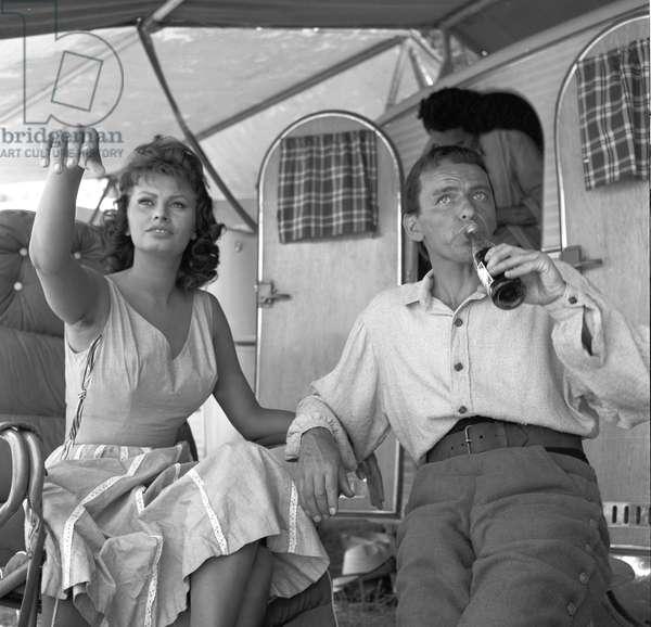 Sophia Loren with Frank Sinatra, 1957 (b/w photo)